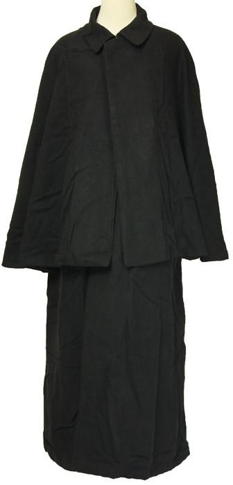 着物,和装,男物,和風,マント,コート,黒,カジュアル,普段着用,綿,着物用,作務衣用,金田一耕助,まんと,バンから,ばんから,シャーロックホームズ,トンビ,とんび