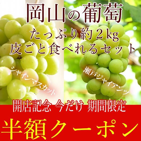 【半額クーポン】岡山県産葡萄 皮ごと食べれるセット!シャインマスカット&瀬戸ジャイアンツ