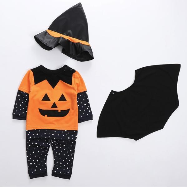 ハロウィン服 南瓜セット 赤ちゃん 演出 幼児 長袖 長ズボン 帽子 マント 4件セット 男/女可 秋 1~3歳|igenso|10