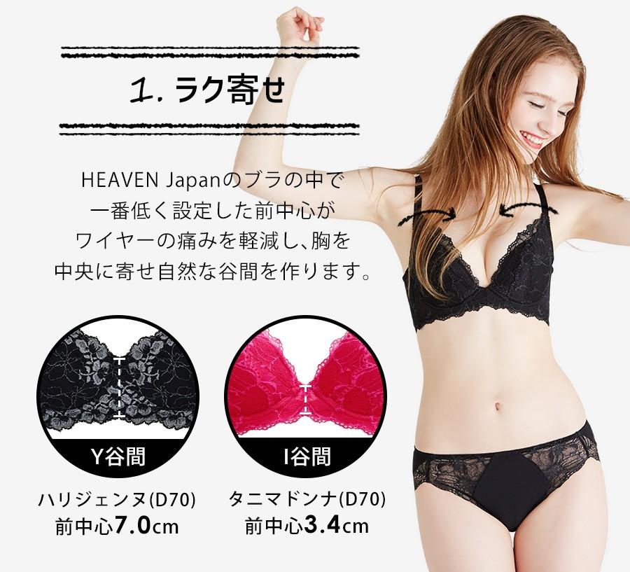 1ラク寄せ:HEAVEN Japanのブラの中で一番低く設定した前中心。ワイヤーの痛みを軽減し、胸を中央に寄せ自然な谷間を作ります。