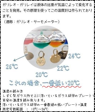 ガリレオ温度計の現在温度の見方