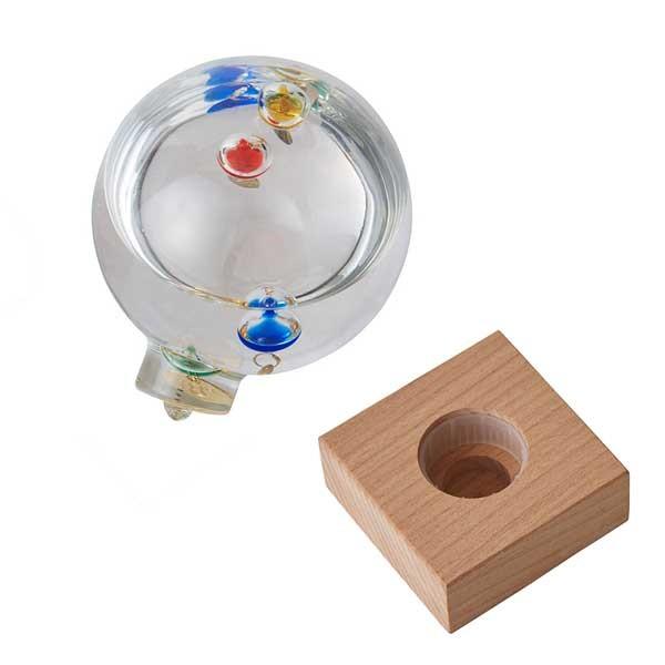 ドーム型ガリレオ温度計の本体と台座