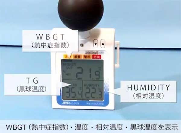 WBGT(熱中症指数)、温度、湿度、黒球温度を表示
