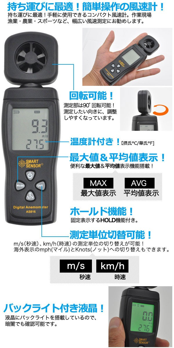 風速計AS816の機能説明
