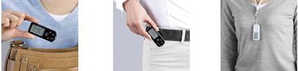 最薄部8.5mmのコンパクトボディ歩数計