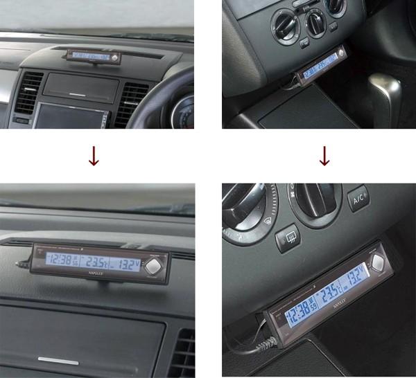 車用電圧計+電波時計+温度計Fizz-890
