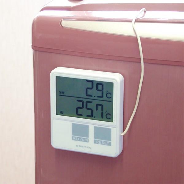 冷蔵庫内に外部センサーを入れたデジタル温度計O-215のイメージ