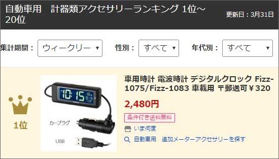 車載用電波時計Fizz-1075とFizz-1085がランクイン