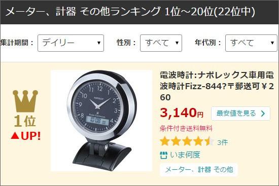 車用電波時計Fizz844ランクイン