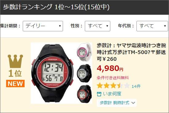 腕時計万歩計TM-500ランクイン