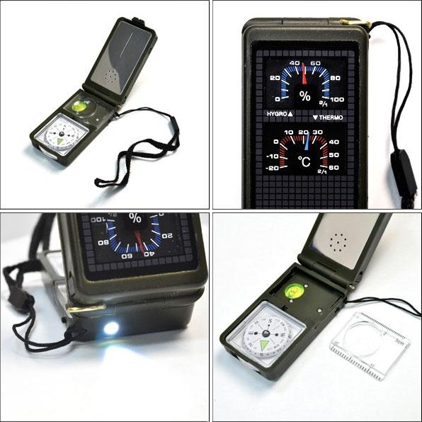 温湿度計やライト・反射鏡がついた多機能コンパス