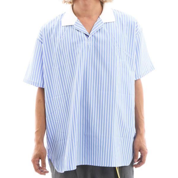 Inspiration improves select ビッグシルエット ポロシャツ スキッパーシャツ ストライプ 韓国 ファッション メール便対応|improves|14