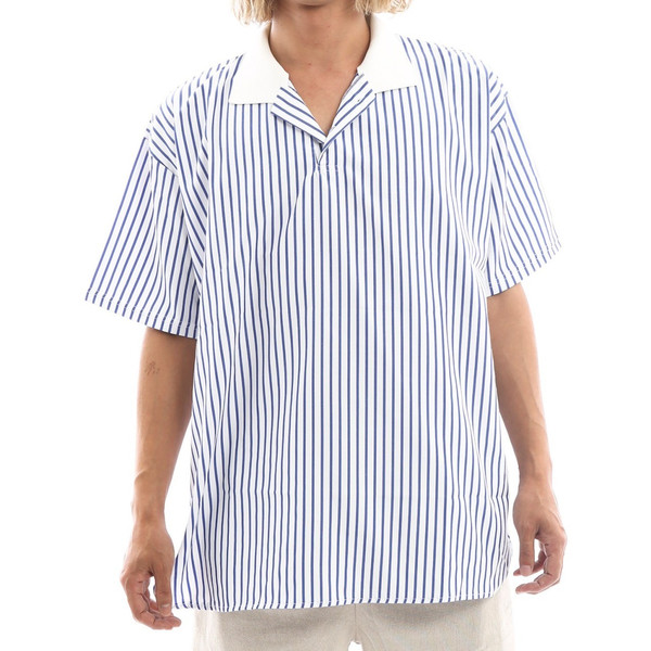 Inspiration improves select ビッグシルエット ポロシャツ スキッパーシャツ ストライプ 韓国 ファッション メール便対応|improves|15