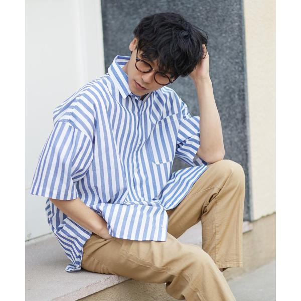 ストライプ ビッグシルエット シャツ メンズ 半袖 ビッグシャツ ストライプシャツ 半袖シャツ ブロードシャツ オーバーサイズ ブラック improves 11