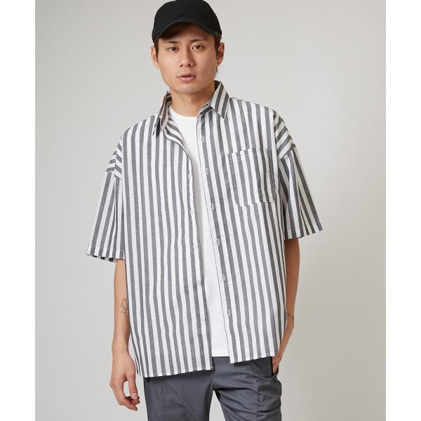 ストライプ ビッグシルエット シャツ メンズ 半袖 ビッグシャツ ストライプシャツ 半袖シャツ ブロードシャツ オーバーサイズ ブラック improves 12