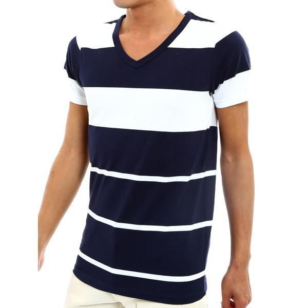 ボーダーTシャツ メンズ Tシャツ カットソー 半袖 ボーダー アメカジ サーフ系 Vネック おしゃれ おしゃれ ファッション|improves|24