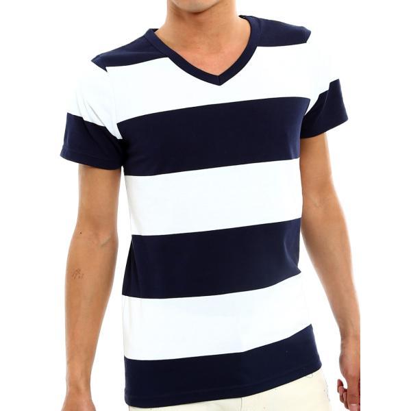 ボーダーTシャツ メンズ Tシャツ カットソー 半袖 ボーダー アメカジ サーフ系 Vネック おしゃれ おしゃれ ファッション|improves|26