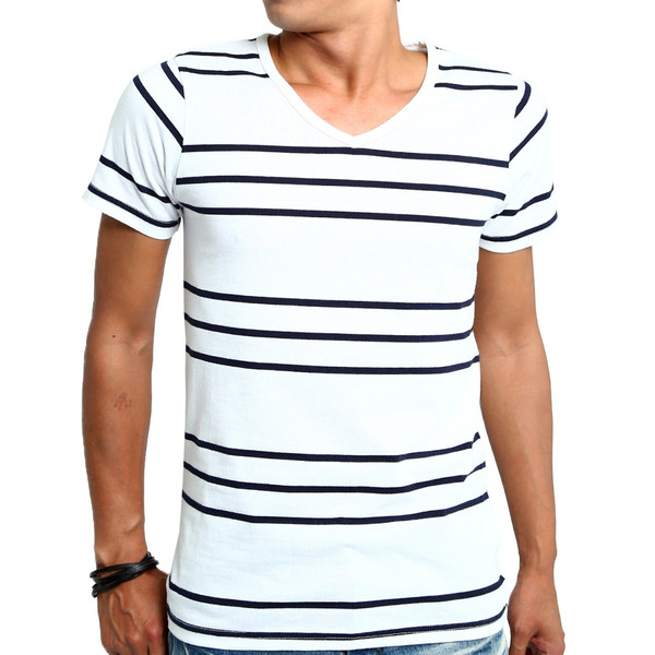 ボーダーTシャツ メンズ Tシャツ カットソー 半袖 ボーダー アメカジ サーフ系 Vネック おしゃれ おしゃれ ファッション|improves|30