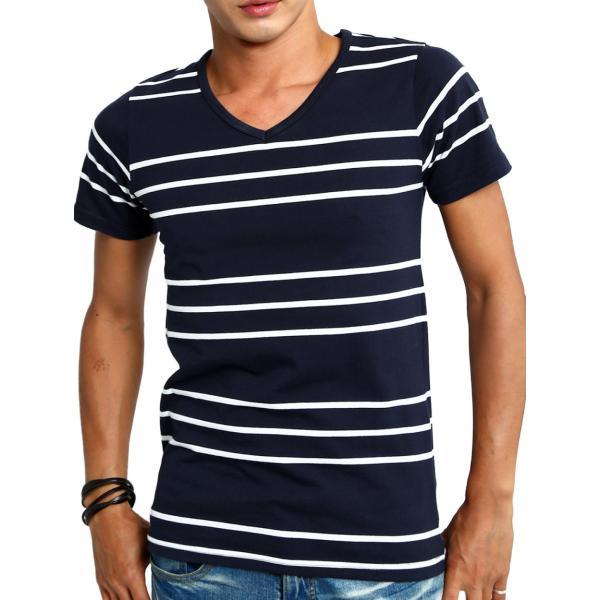 ボーダーTシャツ メンズ Tシャツ カットソー 半袖 ボーダー アメカジ サーフ系 Vネック おしゃれ おしゃれ ファッション|improves|32