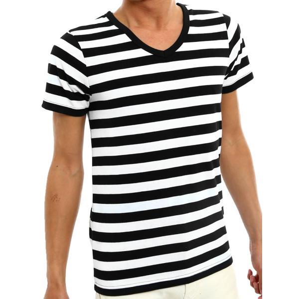 ボーダーTシャツ メンズ Tシャツ カットソー 半袖 ボーダー アメカジ サーフ系 Vネック おしゃれ おしゃれ ファッション|improves|33