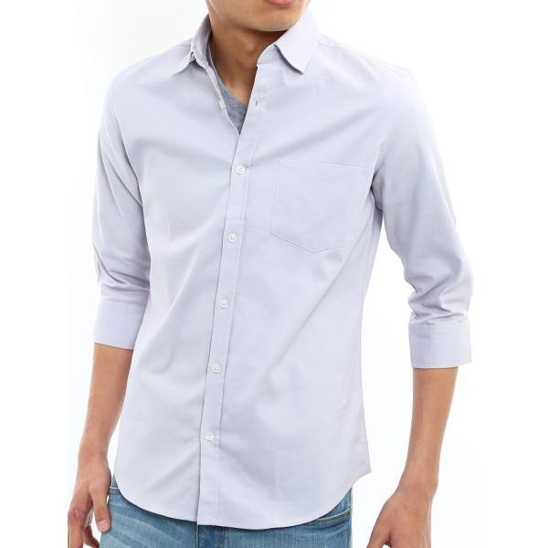シャツ メンズ オックスフォード カジュアルシャツ 白シャツ 無地 7分袖 七分袖 長袖 トップス おしゃれ 夏 夏服 ファッション|improves|30