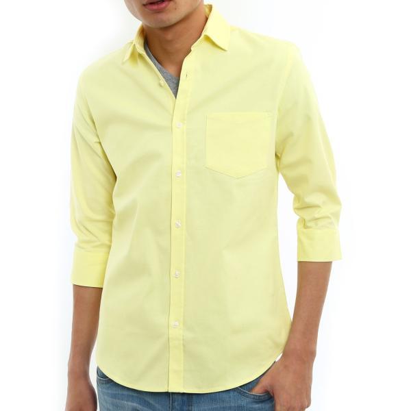 シャツ メンズ オックスフォード カジュアルシャツ 白シャツ 無地 7分袖 七分袖 長袖 トップス おしゃれ 夏 夏服 ファッション|improves|31