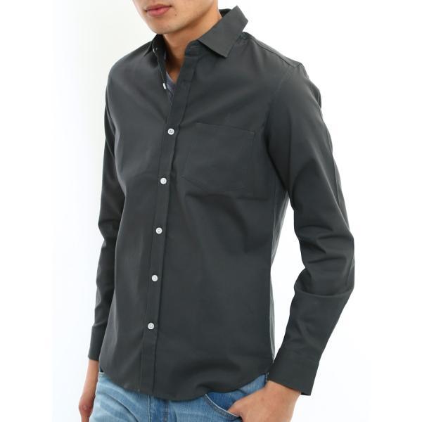 シャツ メンズ オックスフォード カジュアルシャツ 白シャツ 無地 7分袖 七分袖 長袖 トップス おしゃれ 夏 夏服 ファッション|improves|26