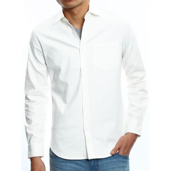 シャツ メンズ オックスフォード カジュアルシャツ 白シャツ 無地 7分袖 七分袖 長袖 トップス おしゃれ 夏 夏服 ファッション|improves|23