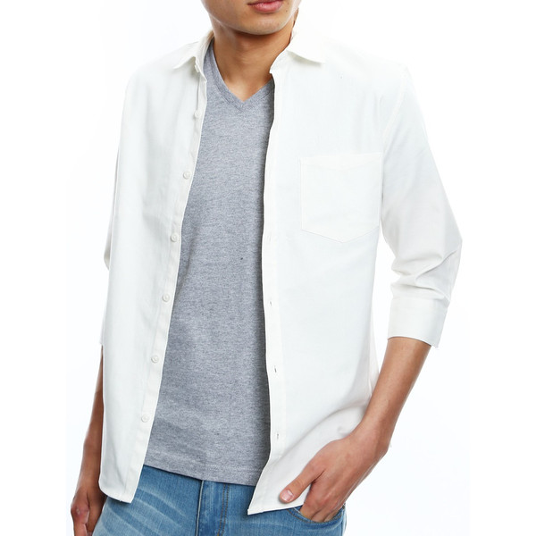 シャツ メンズ オックスフォード カジュアルシャツ 白シャツ 無地 7分袖 七分袖 長袖 トップス おしゃれ 夏 夏服 ファッション|improves|32