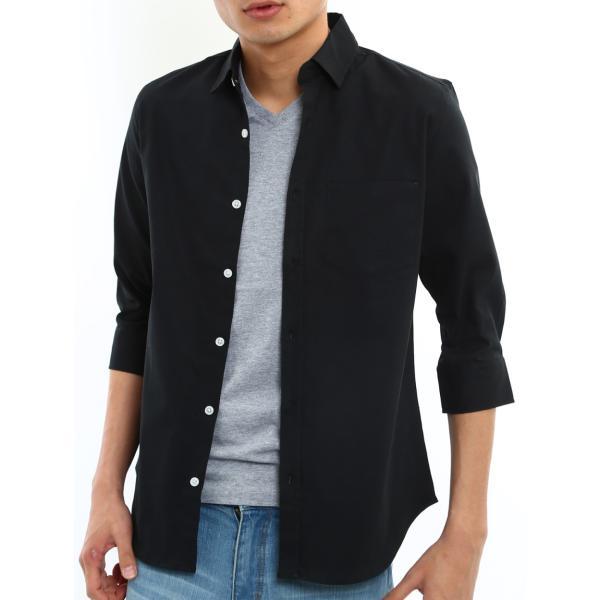 シャツ メンズ オックスフォード カジュアルシャツ 白シャツ 無地 7分袖 七分袖 長袖 トップス おしゃれ 夏 夏服 ファッション メール便対応|improves|33