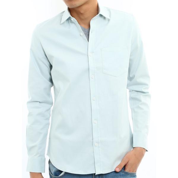 シャツ メンズ オックスフォード カジュアルシャツ 白シャツ 無地 7分袖 七分袖 長袖 トップス おしゃれ 夏 夏服 ファッション|improves|25