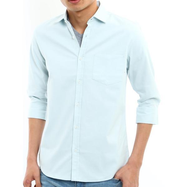 シャツ メンズ オックスフォード カジュアルシャツ 白シャツ 無地 7分袖 七分袖 長袖 トップス おしゃれ 夏 夏服 ファッション|improves|34