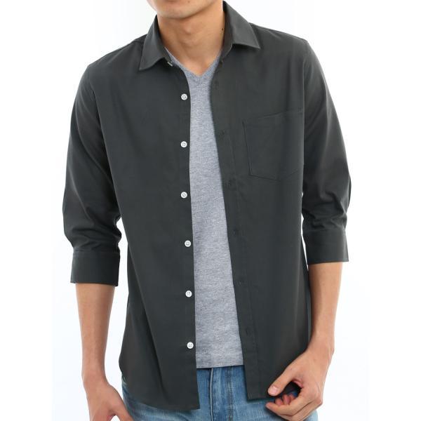 シャツ メンズ オックスフォード カジュアルシャツ 白シャツ 無地 7分袖 七分袖 長袖 トップス おしゃれ 夏 夏服 ファッション メール便対応|improves|35