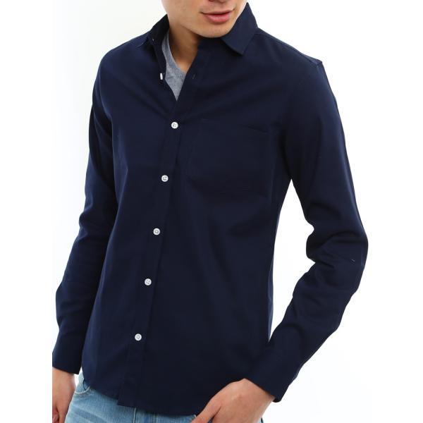 シャツ メンズ オックスフォード カジュアルシャツ 白シャツ 無地 7分袖 七分袖 長袖 トップス おしゃれ 夏 夏服 ファッション|improves|27