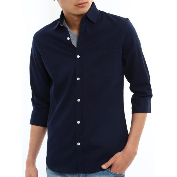 シャツ メンズ オックスフォード カジュアルシャツ 白シャツ 無地 7分袖 七分袖 長袖 トップス おしゃれ 夏 夏服 ファッション メール便対応|improves|36