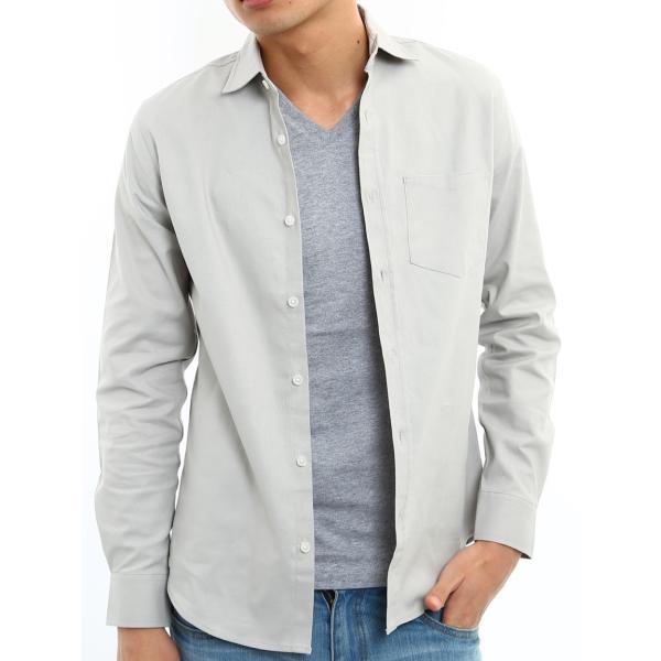 シャツ メンズ オックスフォード カジュアルシャツ 白シャツ 無地 7分袖 七分袖 長袖 トップス おしゃれ 夏 夏服 ファッション|improves|28