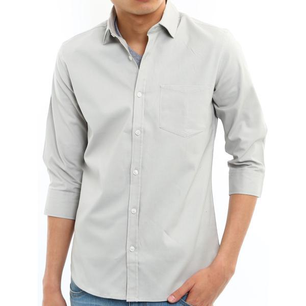 シャツ メンズ オックスフォード カジュアルシャツ 白シャツ 無地 7分袖 七分袖 長袖 トップス おしゃれ 夏 夏服 ファッション|improves|37