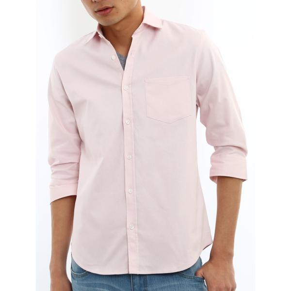 シャツ メンズ オックスフォード カジュアルシャツ 白シャツ 無地 7分袖 七分袖 長袖 トップス おしゃれ 夏 夏服 ファッション|improves|38