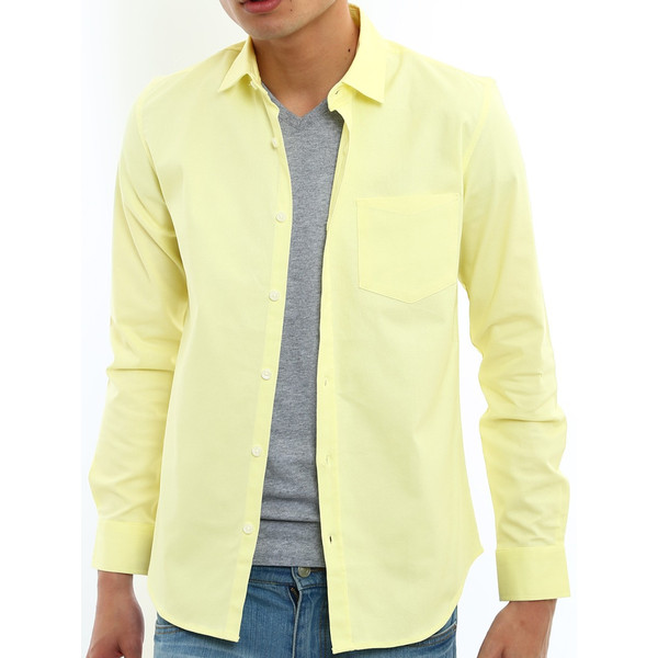 シャツ メンズ オックスフォード カジュアルシャツ 白シャツ 無地 7分袖 七分袖 長袖 トップス おしゃれ 夏 夏服 ファッション|improves|22