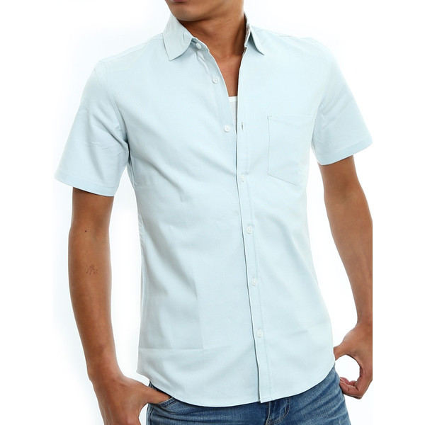 シャツ メンズ 半袖 カジュアル 無地 オックスフォード オープンカラーシャツ 開襟シャツ おしゃれ ファッション improves 21