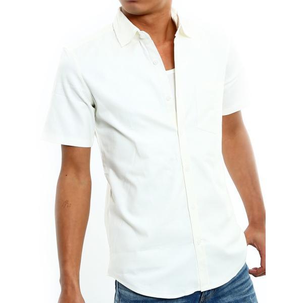 シャツ メンズ 半袖 カジュアル 無地 オックスフォード オープンカラーシャツ 開襟シャツ おしゃれ ファッション improves 22