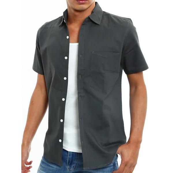 シャツ メンズ 半袖 カジュアル 無地 オックスフォード オープンカラーシャツ 開襟シャツ おしゃれ ファッション improves 24