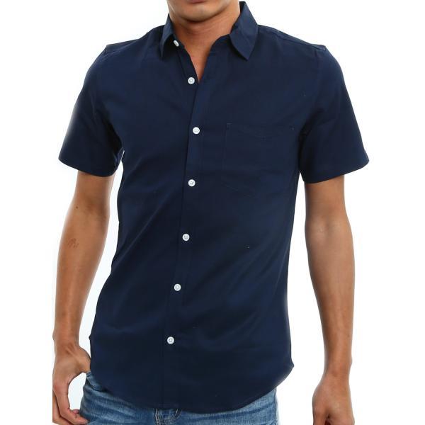 シャツ メンズ 半袖 カジュアル 無地 オックスフォード オープンカラーシャツ 開襟シャツ おしゃれ ファッション improves 25