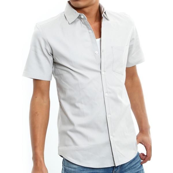 シャツ メンズ 半袖 カジュアル 無地 オックスフォード オープンカラーシャツ 開襟シャツ おしゃれ ファッション improves 26
