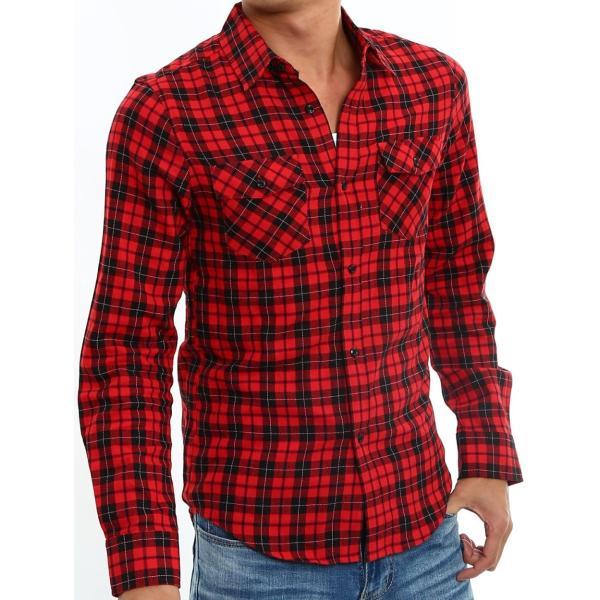 チェックシャツ メンズ コットン カジュアルシャツ シャツ 長袖 アメカジ トップス おしゃれ おしゃれ 夏 夏服 ファッション improves 23