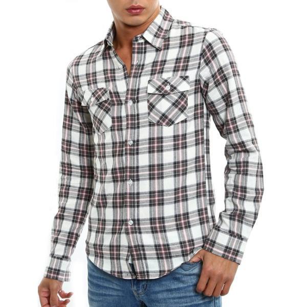 チェックシャツ メンズ コットン カジュアルシャツ シャツ 長袖 アメカジ トップス おしゃれ おしゃれ 夏 夏服 ファッション improves 24
