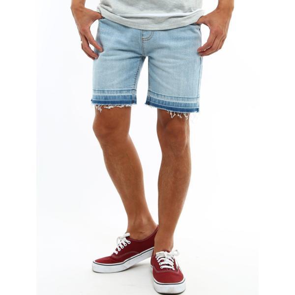 デニム ショートパンツ メンズ ボトムス ダメージ加工 ウエストゴム カットオフデニム  ジーパン イージーパンツ ストレッチ おしゃれ ファッション|improves|11
