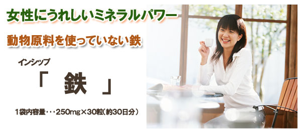 女性にうれしいミネラルパワー『鉄』1袋内容量・・・250mg×30粒 普段の食事では不足しがちな『鉄分』を手軽に補給