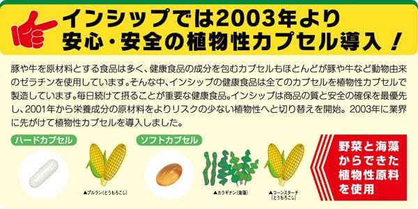 インシップでは2003年より安心・安全の植物性カプセル導入!