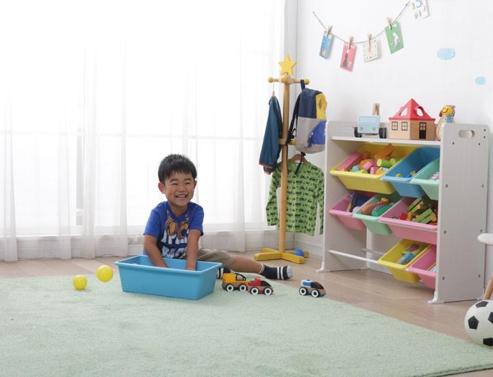 収納ラックキッズ収納キッズラックキッズ家具お片付けおかたづけ玩具箱おもちゃ箱オモチャ箱ベビーキッズ知育家具天板付キッズトイハウスラックTKTHR-39パステル・キャロット・ブラウンアイリスオーヤマ